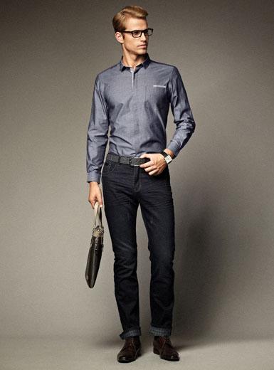 袖扣衬衫时尚前卫 商务型男风度翩翩